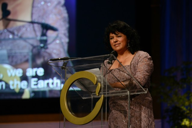 Honduran Indigenous leader and environmentalist Berta Cáceres speaks at the War Memorial Opera House in San Francisco during the 2015 Goldman Environmental Prize award ceremony. CREDIT: STEVE FISCH/GOLDMAN ENVIRONMENTAL PRIZE VIA AP