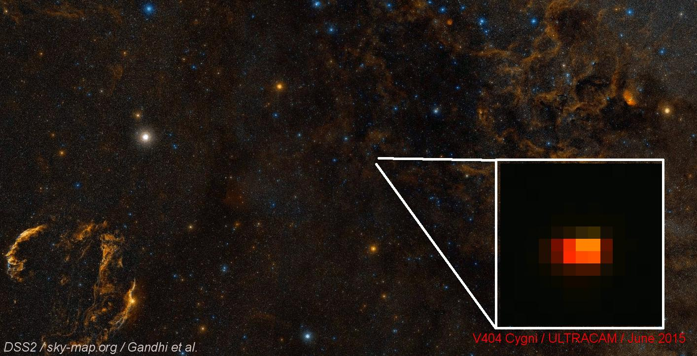 Red flashes were seen inthe position of V404 Cygni.