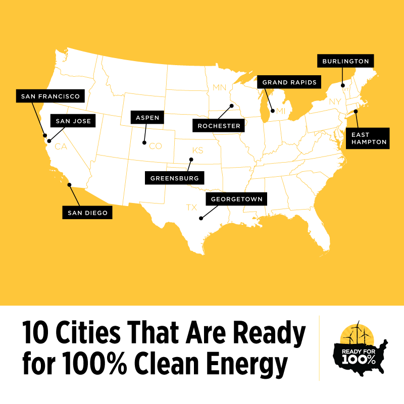 The #ReadyFor100 campaign. Photo: The Sierra Club