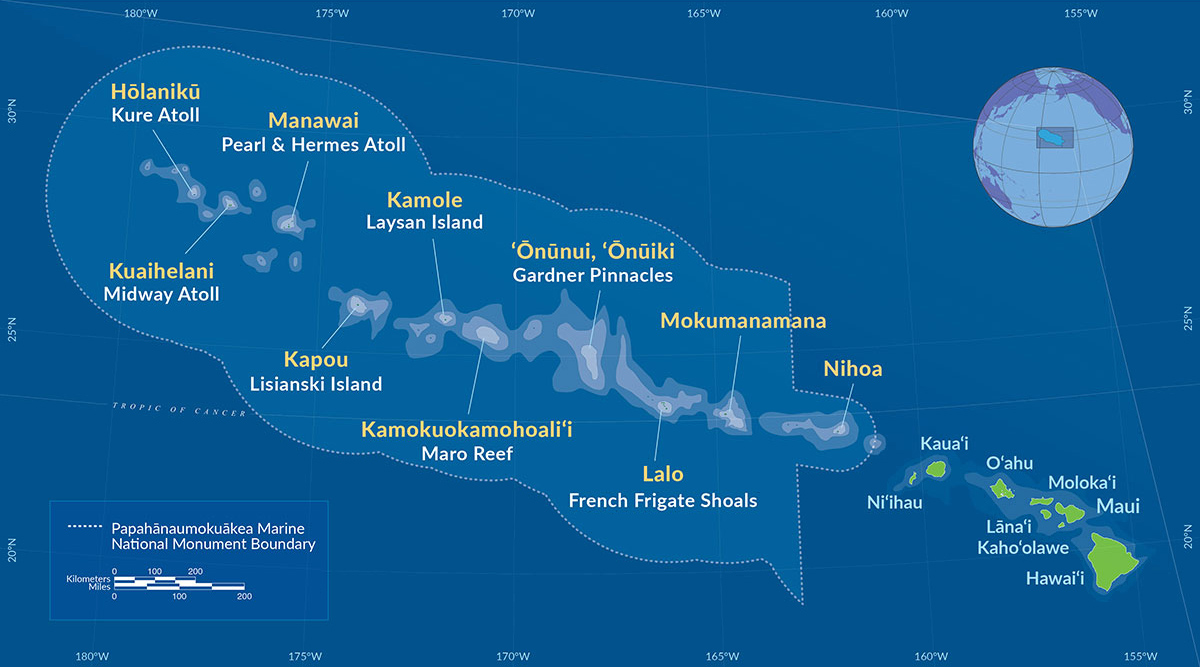 Map of Papah?naumoku?kea Marine National Monument. Map provided by U.S. National Oceanic and Atmospheric Administration. Public Domain.