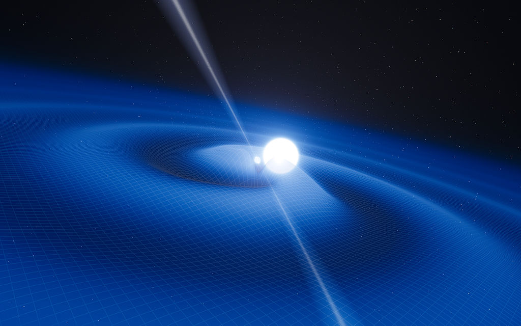 An artist's rendition of a binary pulsar system