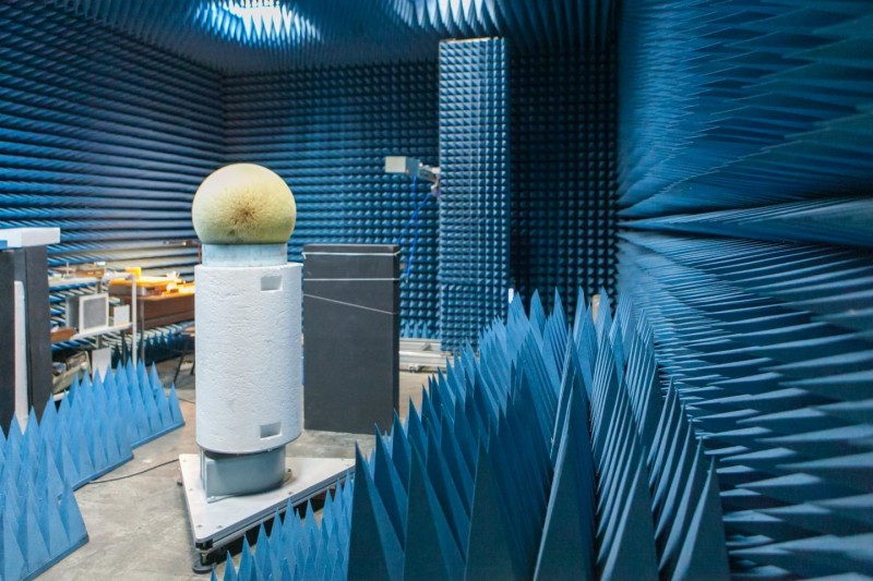 This is the radio-frequency anechoic chamber used for the experiment.
