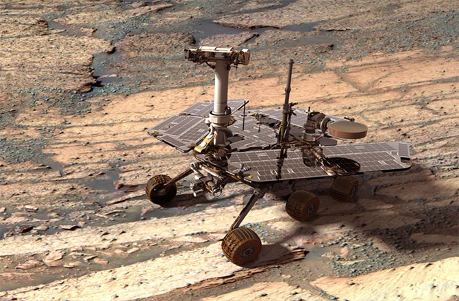 A special effects rendering of Opportunity on the Martian surface.