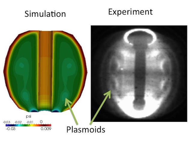 Simulations of self-contained plasmoids