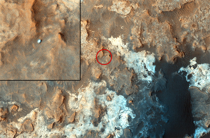 The Mars Rover Curiosity as seen by the MRO