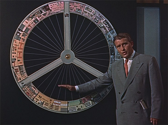 Verner Von Braun explains his concept for a wheel-shaped space station that would spin to create artificial gravity.