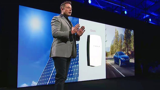 Elon Musk at the release of the Powerwall battery pack. The event was powered by Powerwalls.