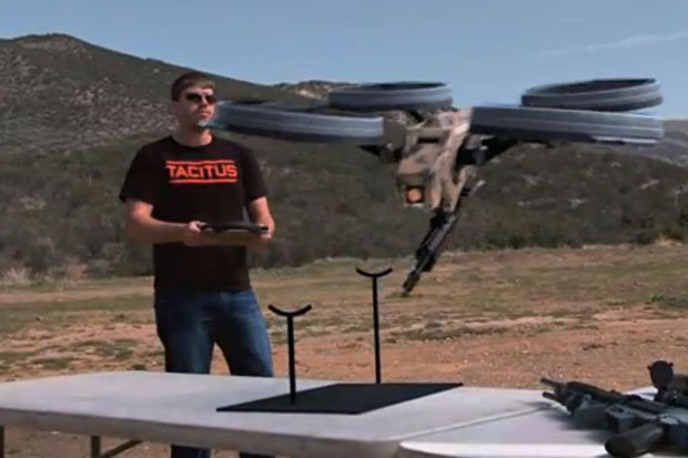 FPS Russia, a popular YouTube entertainer, demonstrates a lethal remote controlled armed quadcopter.