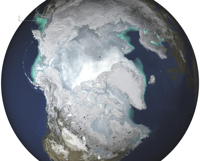 Average maximum extent of sea ice, 1979 to 2014
