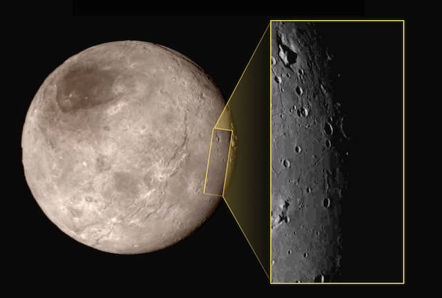 The close-up image taken by New Horizons of Charon, Pluto's largest moon