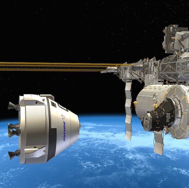 An artist's impression of Boeing's CST-100 about to dock with the ISS