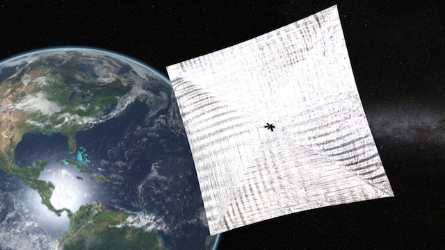 A LightSail spacecraft preparing to ride the solar winds into space