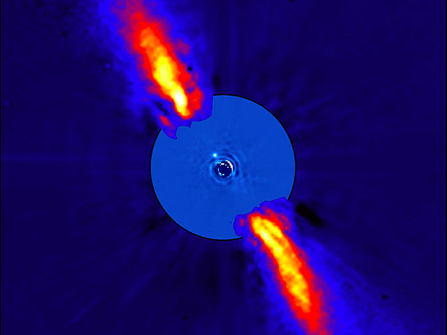 A composite image of Beta Pictoris is shown in infrared red light.