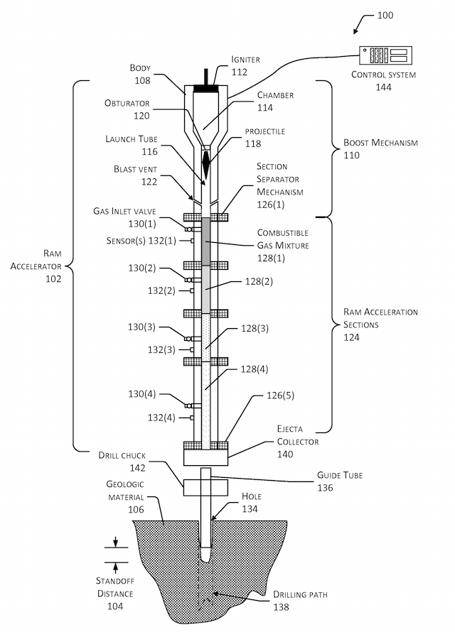 A diagram from the patent application for HyperSciences' ram accelerator