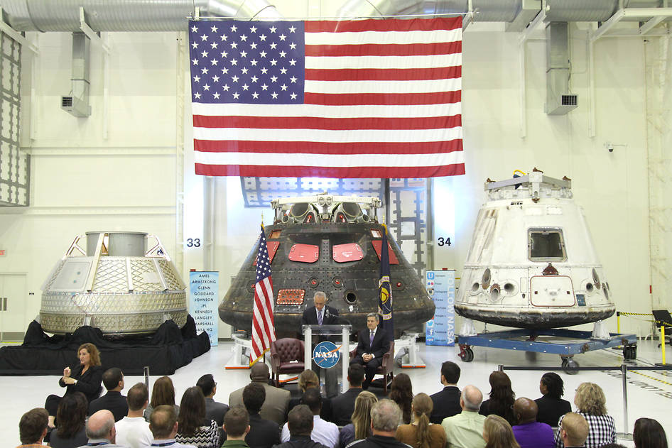NASA's current capsules: NASA's Orion, SpaceX Dragon and Boeing CST-100 spacecraft.