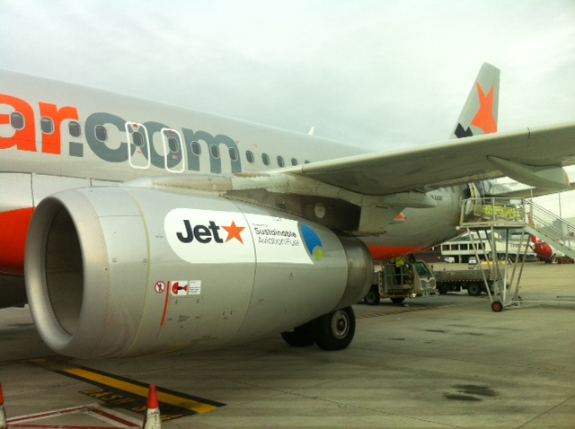 A jet in Melbourne powered by a mix of jet fuel and biofuel made from recycled cooking oil