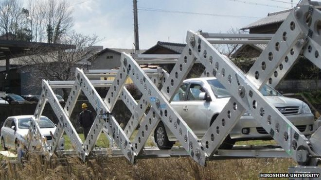 This cool bridge can be un-folded and deployed in an emergency situation to help traffic cross water.