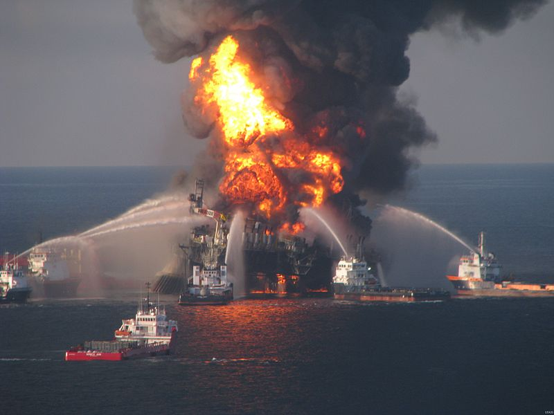 Vessels equipped with water cannons try to fight the devastating Deepwater Horizon fire.