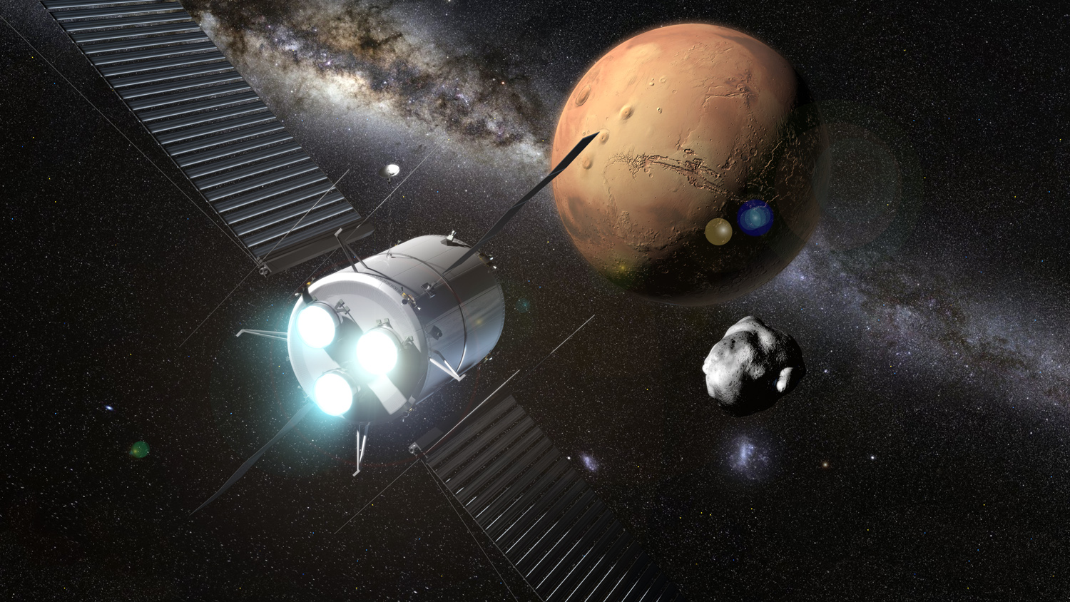 Artist's conception of a solar electric propulsion spacecraft