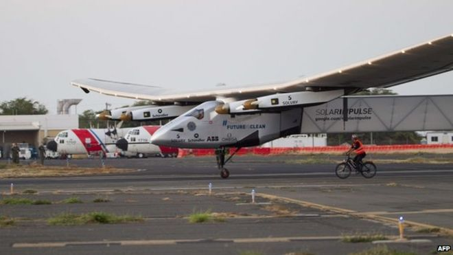 Solar Impulse is experiencing some technical difficulties, and is grounded in Hawaii until further notice.