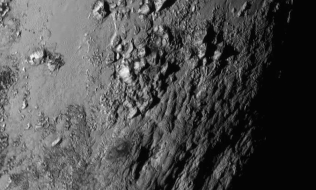 A mountain range near Pluto's equator captured during New Horizons' Tuesday flyby