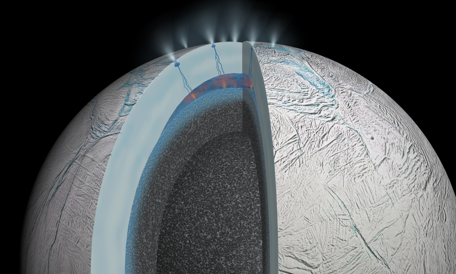 Nasa graphic of the interior of Saturn's moon Enceladus