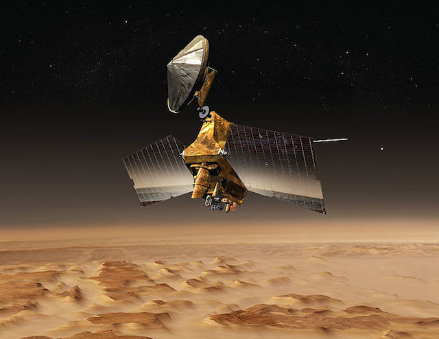Artist's impression of the MRO over the surface of Mars