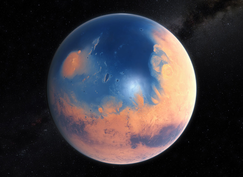Artist's impression on how Mars may have looked four billion years ago.