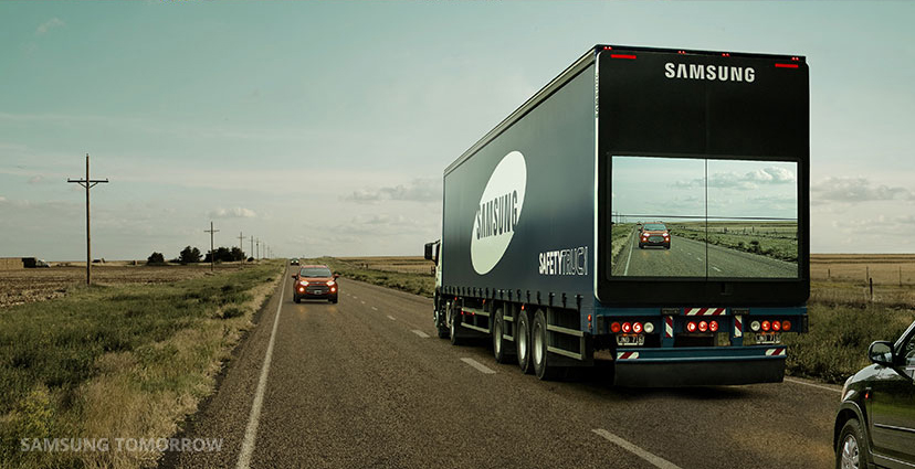 Samsung's big rig truck that lets you see in front of it while you're behind it.