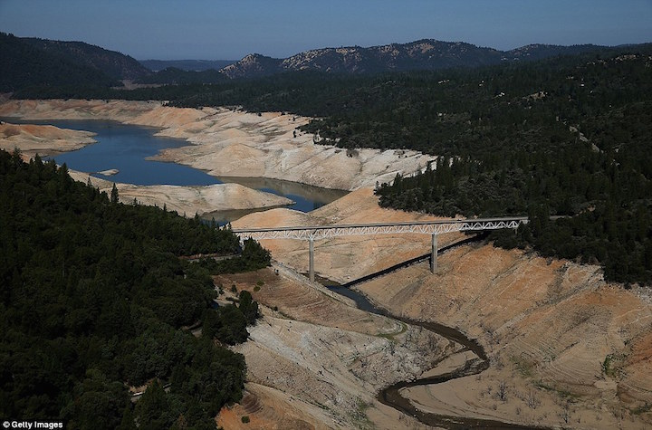 Lake Oroville, a reservoir in California is almost empty.
