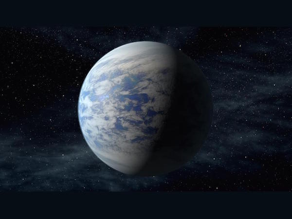 Artist's concept of Kepler-69c, a super-Earth-size planet in the habitable zone of a Sun-like star, located about 2,700 light-years from Earth in the constellation Cygnus.