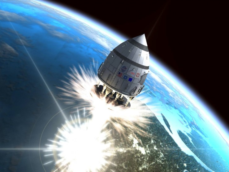 The 4000 tonne Project Orion spacecraft riding a shockwave into outer space