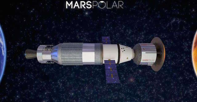 An artist's impression of MarsPolar's ship that will transport colonists to Mars
