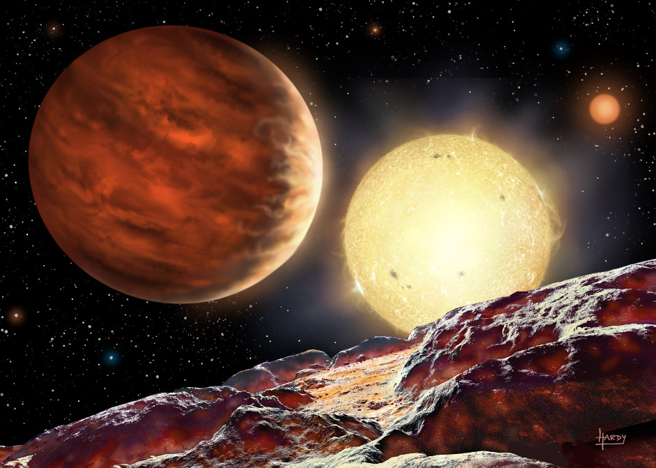 An artist's depiction of what the newly discovered planet, WASP 142b, might look like.