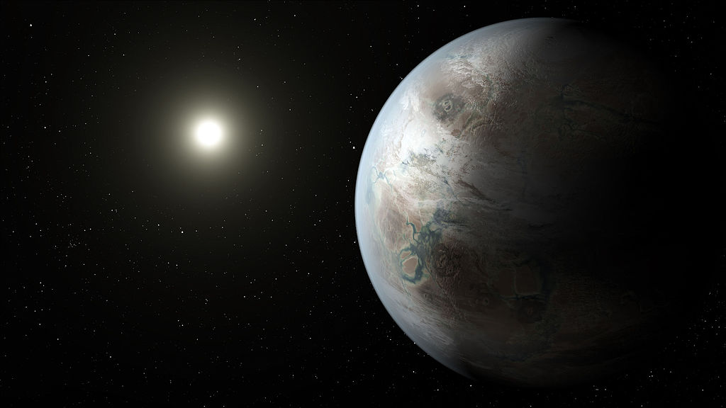 An artist's concept of Kepler 452b, an exoplanet remarkably similar to Earth