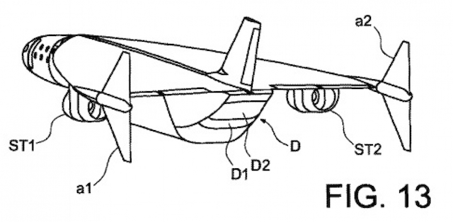 A diagram from Airbus' patent application showing the configuration of the Ultra-rapid Air Vehicle