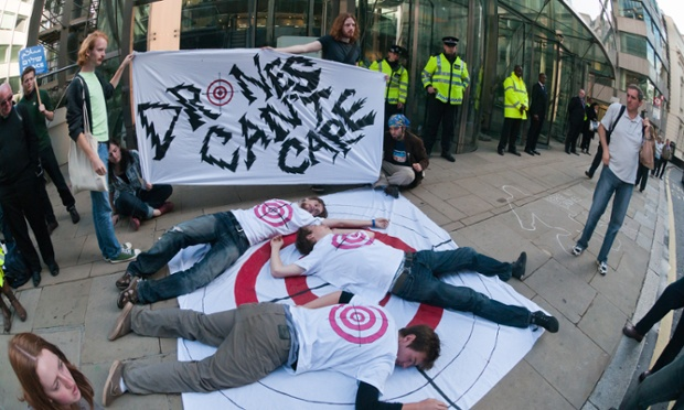 A protest takes place outside the London offices of the defence contractor General Atomics against drones and killer robots.
