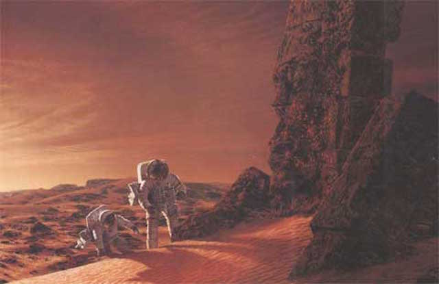 An artist's impression of a manned mission to Mars