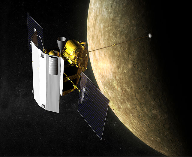 The MESSENGER probe orbiting Mercury