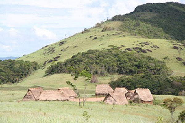 Huts in an isolated village inhabited by Yanomami Amerindians in a remote, mountainous area in southern Venezuela.