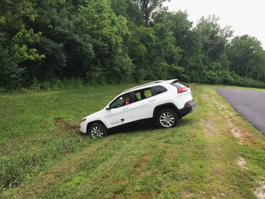 A 2014 Jeep Cherokee ends up in a ditch after being hacked from afar to disable its braking power.