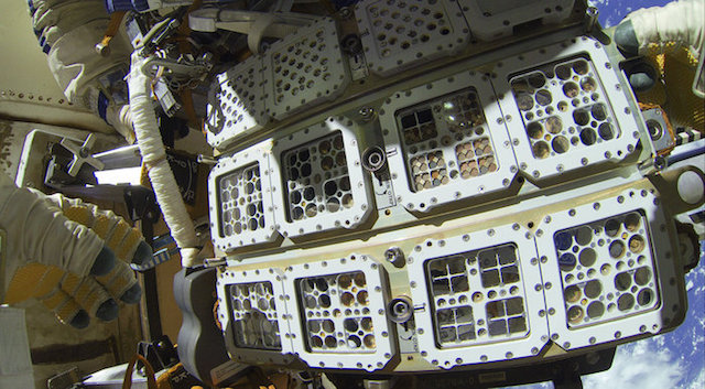 The Expose-R2 module, bolted to the hull of the ISS