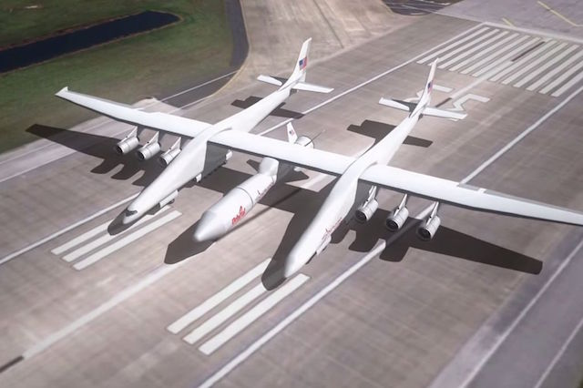 Artist's impression of Vulcan Aerospace's massive carrier aircraft with a wingspan of 385 feet