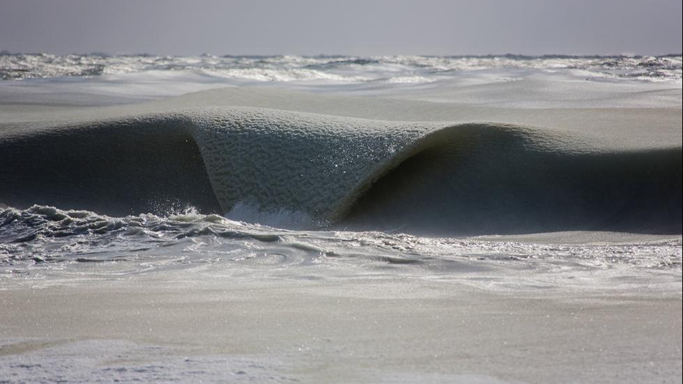 Nearly frozen waves roll onshore in Nantucket MA