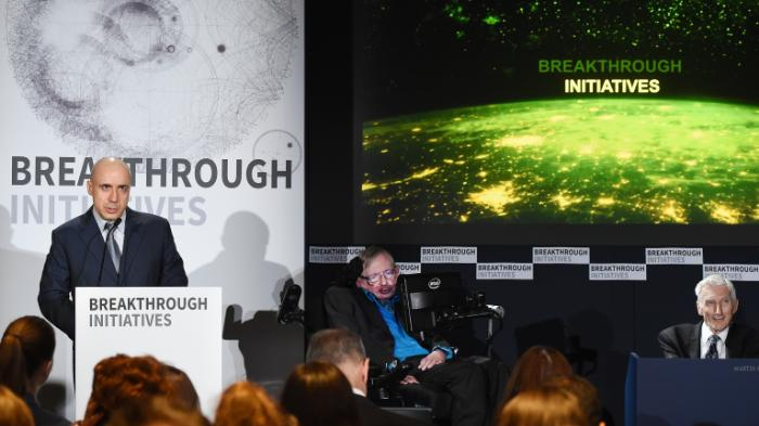 Yuri Milner, backed by Stephen Hawking, takes the stage to talk about a new $100m project to search for aliens.