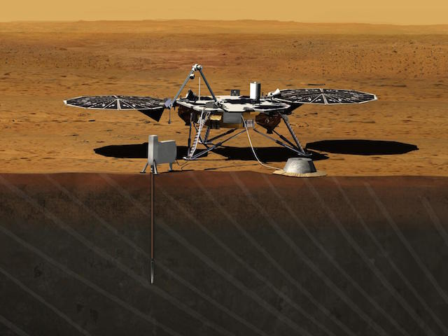 An artist's impression of the InSight lander drilling into the martian surface