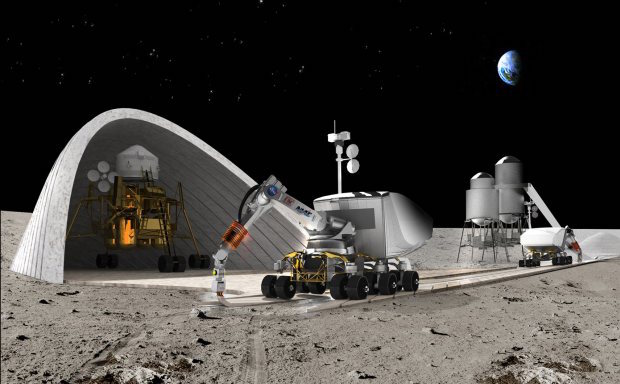 A lunar construction robot prints a road on the moon