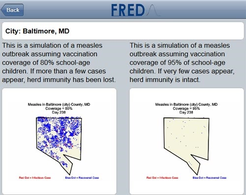 A free, mobile-friendly tool lets users simulate potential measles outbreaks in cities across the US.