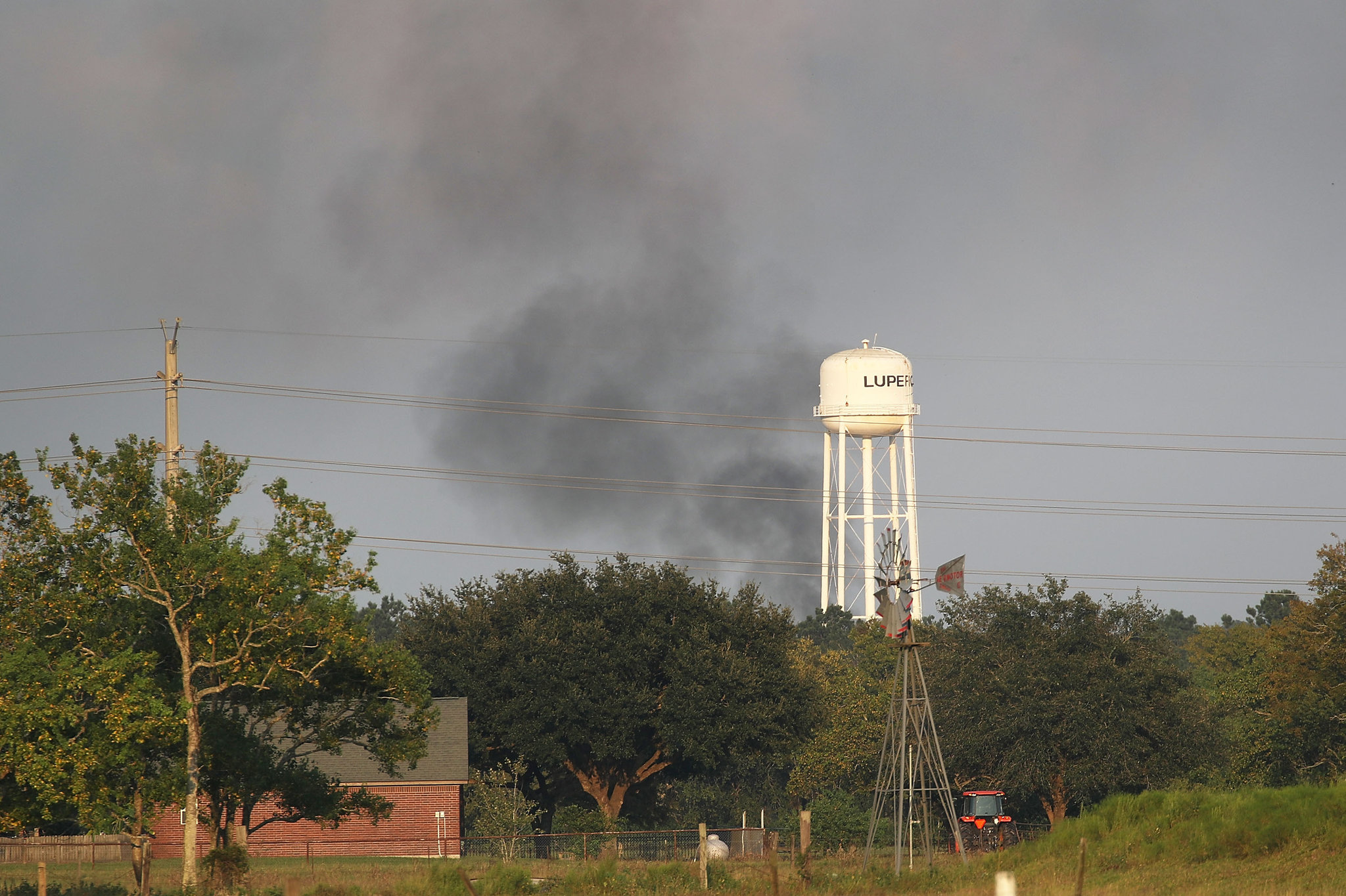 Smoke coming from the Arkema chemical plant. Credit Joe Raedle/Getty Images