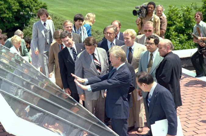 In 1979, President Carter showed off new solar panels on the West Wing. Photo: The NY Times